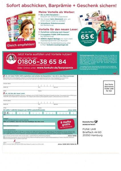1 Jahr FUNK UHR mit Gewinn + Geschenk bis 22.05.14 und 8 Ausgaben gratis bei Bankeinzug