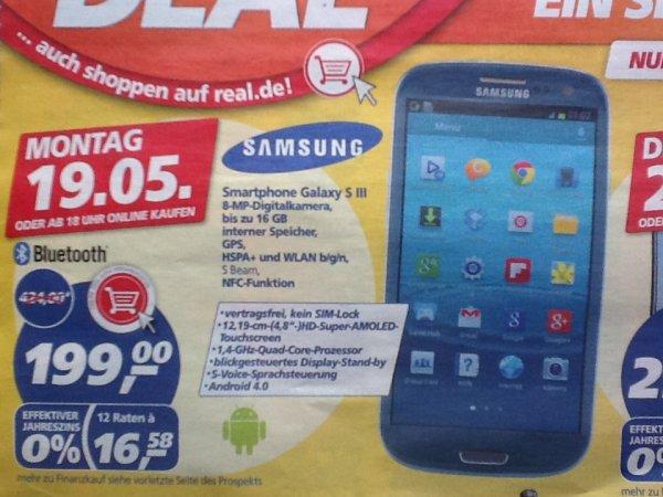 Real - Samsung Galaxy S3 für 199€