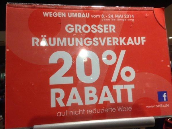 Baltz in Bochum (Lokal) 20% auf nicht reduzierte Ware
