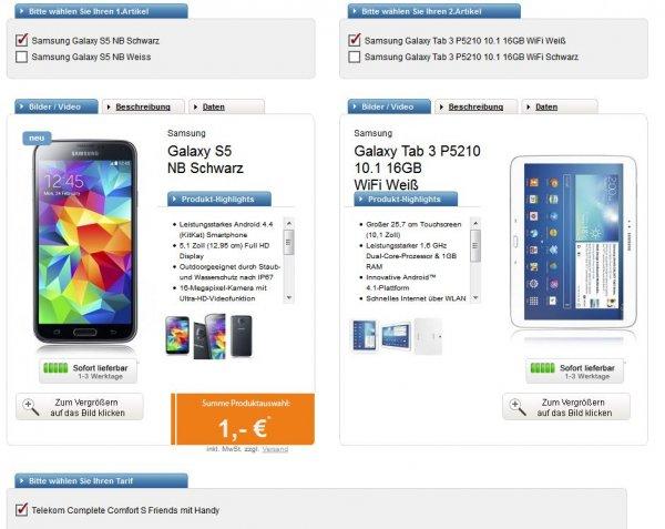 Telekomneuvertrag Complete Comfort S Friends mit Samsung Galaxy S5 und Galaxy Tab 3 10.1