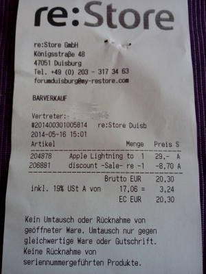[lokal Duisburg]15-30% auf Apple-Zubehör, z. B. Lightning-Adapter für 20,30€