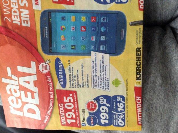 Lokal: Samsung Galaxy SIII für 199,- bei real,- Deal am Montag, 19.05.2014