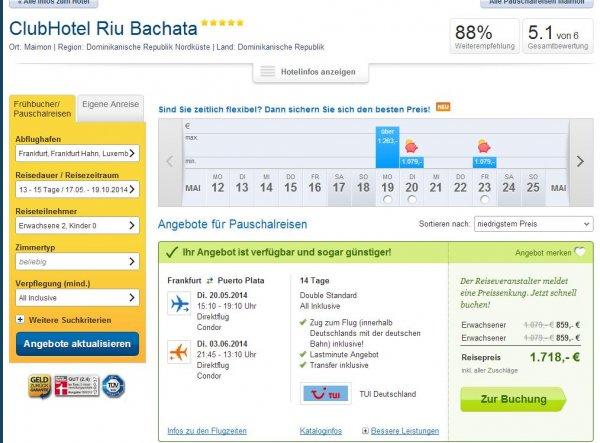 [Lastminute] 14 Tage DomRep AI, ClubHotel Riu Bachata (5*, 88%HC), 20.5.-3.6 859€ p. P. ab FFM inkl. Zug zum Flug
