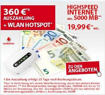 Vodafone original Datenflat 7,2 od. 21,6 mit 360,-- Auszahlung + Huawei WLAN-Hotspot