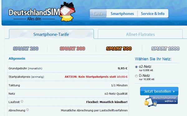 Alle o2 DeutschlandSIM Tarife ohne Starterpaketpreis - Ersparnis €19,95