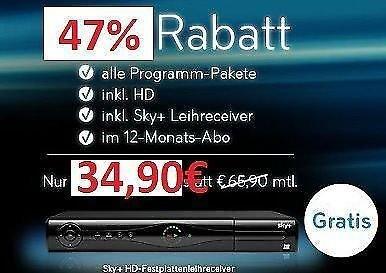 Sky Komplett mit allen Programmpaketen für 34,90 €/mtl. statt 66,90 €/mtl. - keine Versandkostenpauschale