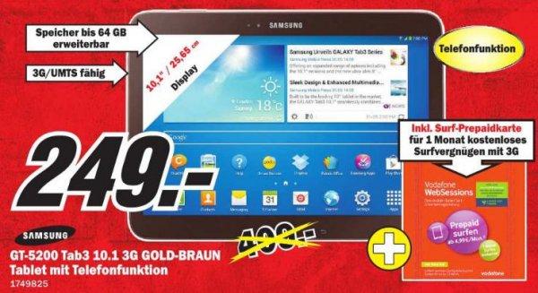[Lokal] SAMSUNG GT-P5200 TAB3 10.1 3G+WIFI 16 GB goldbraun für 249€ in Mannheim und Umgebung