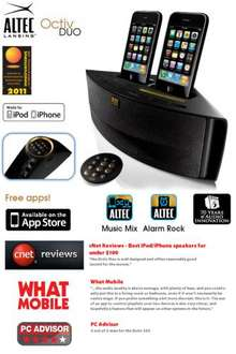 Altec Lansing Octiv Dual Speaker Dock für iPhone & iPod für 46€ + 5% Cashback @iBOOD