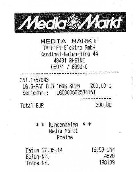 (Regional Rheine-Nordhorn)   LG Tablet G Pad 8.3     200,00 € bei Abholung im Markt