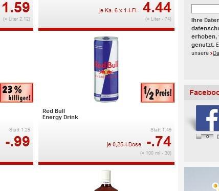 (Lokal Kiel Kaufland) RED Bull versch. Sorten 250ml Dose 0,74 Euro plus andere Angebote