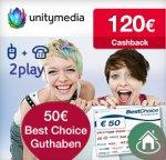[Qipu] Auf ein Neues! Unitymedia mit 120€ Cashback + 50€ Gutschein (BestChoice) für 2play PLUS 100 (~22,92€ eff./Monat)