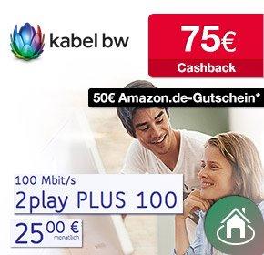 [Qipu] Kabel BW mit 75€ Cashback + 50€ Amazon Gutschein + 60€ Onlinevorteil für 2play PLUS 100 (~23,95€ eff./Monat)