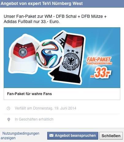 Fan-Paket zur WM bei expert Tevi (Deutschland Cap, Fanschal und Fußball Brazuca für 33 €)