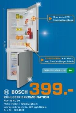 [Saturn Bundesweit] Bosch KGV36GL30 Kühl- Gefrierkombi A++ für 399,- statt 510,- Idealo