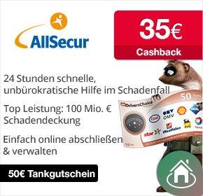 Allsecur™ - €35.- Cashback + €50.- Tankgutschein für Kfz-Versicherungsabschluß [@qipu.de]