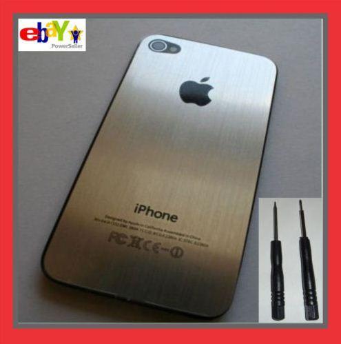 iPhone 4 Silber Alu Metall Cover Backcover Akkudeckel inkl. Werkzeugset - Kostenloser Versand