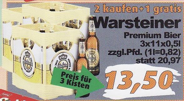 LOKAL - Oldenburg / aktiv irma (ab 21.05.): 3 Kisten Warsteiner (je 11x0,5L) für 13,50€ -> (1L= 0,82€); Lorenz Chipsletten/Nic Nacs für 0,99€; ...