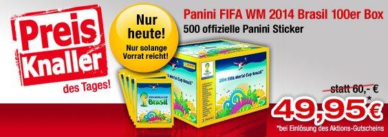 Panini FIFA WM 2014 Brasil Box 100 Tüten für 54,95 EUR statt 60,00 Euro