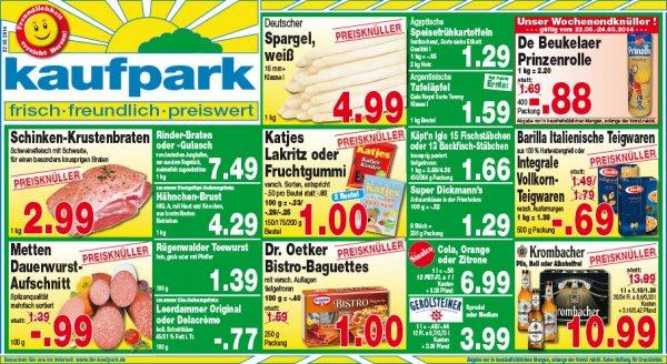 kaufpark  De Beukelaer Prinzenrolle 400g  0,88 Euro sonst 1,69 Euro und Dr. Oetker Bistro Baguettes für 1,00 Euro