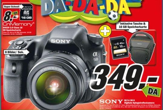 Mediamarkt Wuppertal : Sony SLT-A 58 K inkl. 16 GB SDHC Karte und Tasche
