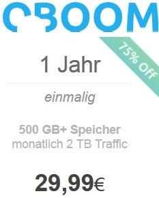 [Oboom] Cloud 500GB Speicher +2TB Traffic pro Monat für 1 Jahr nur 29,99 € +1 Monat Coupon