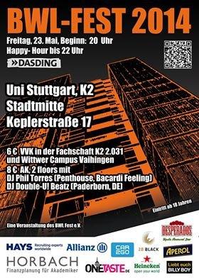 [lokal] Stuttgart, Car2Go kostenlose Registirerung, FlixBus-Gutschein und kostenloses Getränke (BWL-FEST 2014 Uni Stuttgart, K2)
