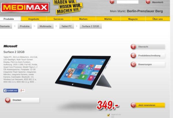 [Lokal Berlin PB] Medimax Surface 2 für 349 Euro + Samsung Galaxy Tab 3 10.1 179 Euro