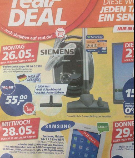 Siemens Bodenstaubsauger VS 06 G 2502 @real am Montag 26.05.