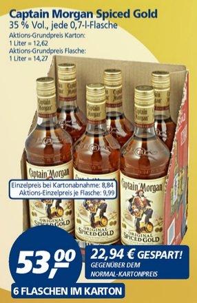 [offline real] 6 Flaschen Captain Morgan Spiced Gold 35% Vol. im Karton für 53,00€ (8,84€ pro 0,7 Liter Flasche)