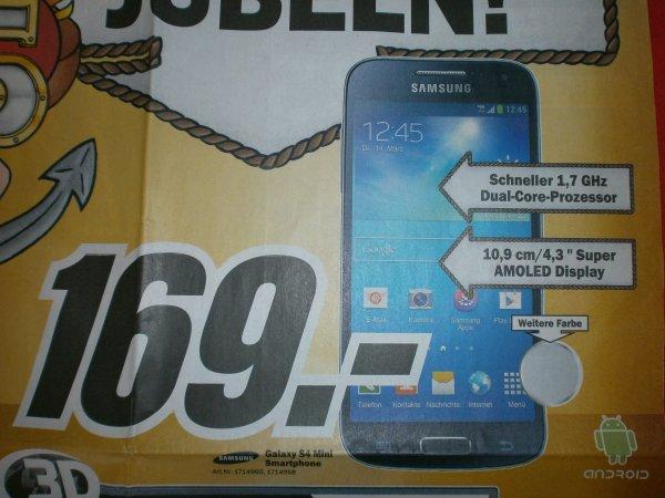 [LOKAL Media Markt Hamburg] Samsung Galaxy S4 mini 169 €