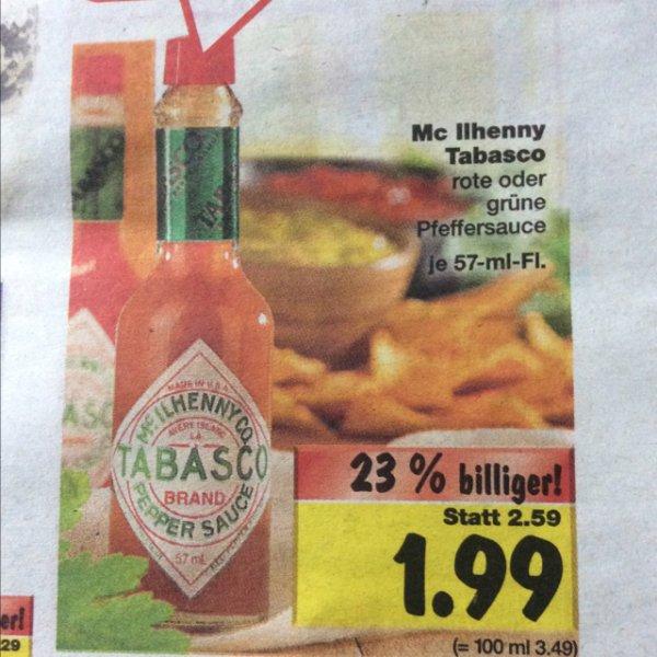 1,99€ Tabasco Rot oder Grün Kaufland [Lokal]