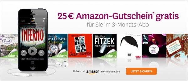 3 Hörbücher + 25€ Amazon Gutschein für 29,85€