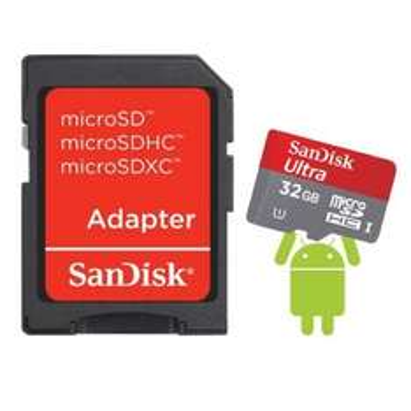 SanDisk 32GB Ultra Micro SDHC Speicherkarte + SD Adapter (Klasse 10 | 30MB/s)
