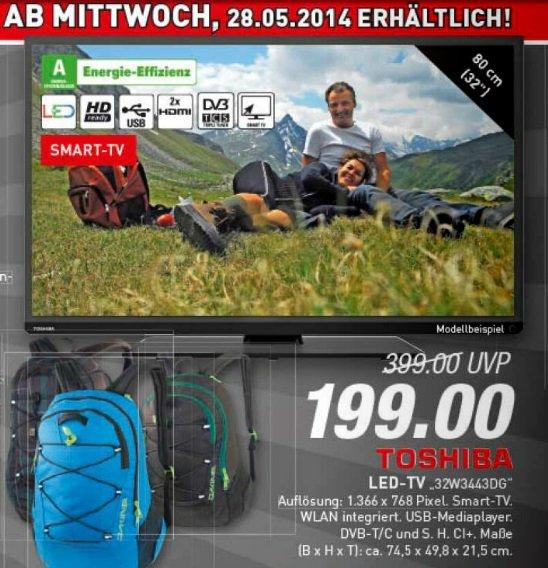 Toshiba 32W3443DG (LED TV, HD ready, DVB-T/-C/-S, WLAN)  Marktkauf Bielefeld 199€