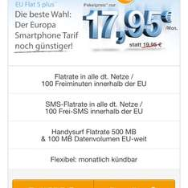 Kurzfristige Aktion: Allnet-flat inkl kostenlosem EU-Roaming, mtl kündbar und dauerhat 2 Euro günstiger!