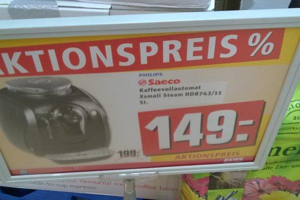 Philips Saeco XSmall Steam HD8743 Kaffeevollautomat bei Rewe für nur 149,-