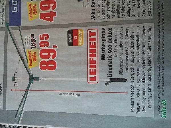 Marktkauf Nord Ost Leifheit Wäschespinne Linomatic 500 Deluxe