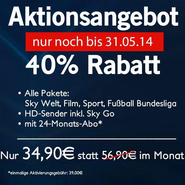 Sky komplett (Sky Welt, Sport, Bundesliga und Film) inklusive Premium HD-Sender und SkGo für 34,90€/Monat