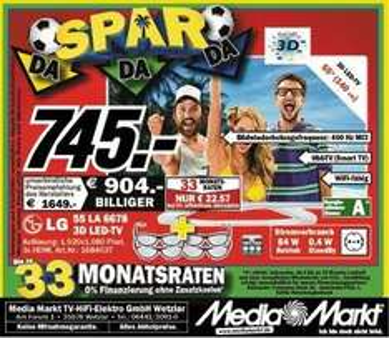 "[Lokal@MM Wetzlar] LG 55LA6678 139cm (55"") 3D LED-TV -Full-HD, Triple Tuner, 400 Hz, WLAN, USB Recording"