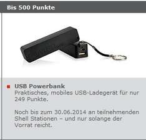 Shell Clubsmart USB Powerbank für nur 249 Punkte