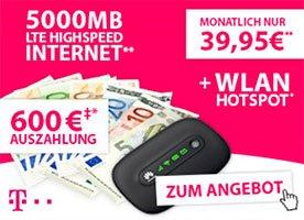 *5GB LTE 150 Mbit/s* in Telekom Data Comfort L Premium + MiFi-Router +  Auszahlung + 15.000 Meilen