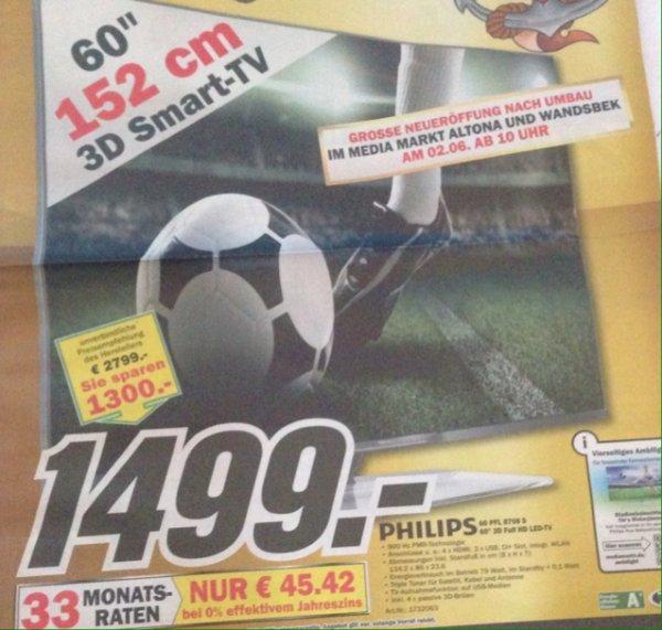 [MM Hamburg] Philips 60 Zoll PFL 8708 S - 3D Full HD LED-TV