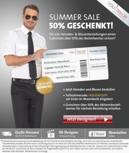 YouTailor Summer Sale - Gutschein über 50% sichern