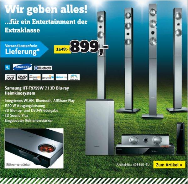 Conrad: Samsung HT-F9759W 7.1 3D Blu-ray Heimkinosystem 899,- Idealo 1.199,- / Samsung HW-F551 Soundbar 229,- Idealo 245,-