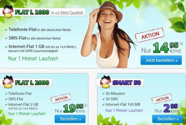 DeutschlandSim O2 alle Maideals nocheinmal O2 FLAT L 1000 / L2000 Allnet-, SMS- und Internet-Flat 1/2 GB mit 14,4 MBit/s monatlich kündbar auch SMART 50 mit 1GB