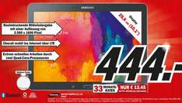 Samsung Galaxy Tab Pro 10.1 16GB LTE für 444€ Lokal [Mediamarkt Berlin,Brandenburg]