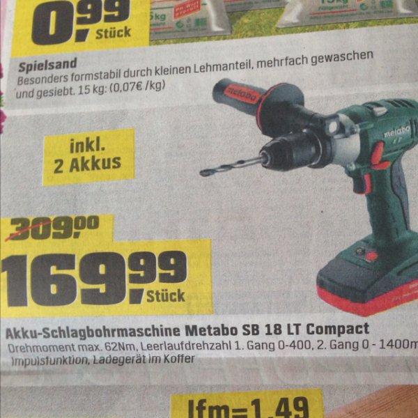 (Lokal) Metabo Akku-Schlagbohrmaschine SB 18 LT Compact inkl. 2 Akkus