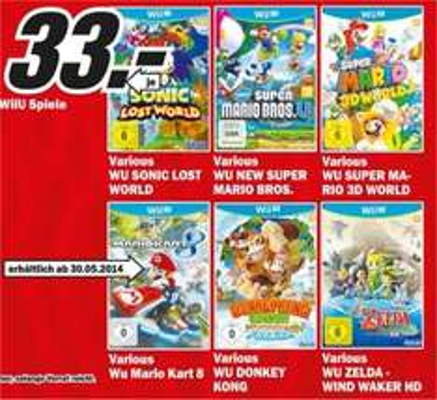 MM Regensburg: Wii U Spiele 33 Euro!!! Mario Kart 8, Mario 3D World, Zelda, Donkey Kong, Sonic, Mario Bros.