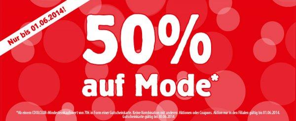 [BUNDESWEIT OFFLINE] Spiele Max 50% beim Kauf eines Gutscheines ab 70€ für Mode - Blitzdeal