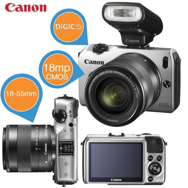Canon EOS M mit 18-55 mm IS STM Objektiv und Speedlite 90EX Blitz für € 275,90